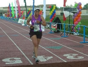 Mary Hladio at  the Finish Line